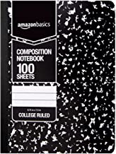 AmazonBasics College Ruled Composition Notebook, 100 Sheet, Marble Black, 4-Pack