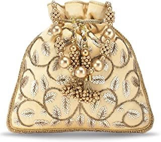 Peora Potli Bags for Women Evening Bag Clutch Ethnic Bride Purse with Drawstring (P12CRM)