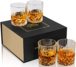 KANARS Old Fashioned Whiskey Glasses With Luxury Gift Box - 10 Oz Rocks Barware For Scotch, Bourbon, Liquor and Cocktail D...