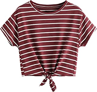 Romwe Women's Knot Front Cuffed Sleeve Striped Crop Top Tee T-Shirt