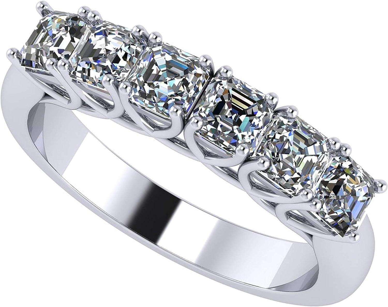 Asscher Denver Mall Cut Max 44% OFF 1ctw Swarovski Zirconia St 6 Ring Diamond Simulated