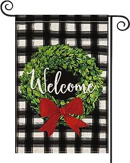 AVOIN Christmas Boxwood Wreath Red Bow Garden Flag Vertical Double Sided, Watercolor Buffalo Plaid Farmhouse Burlap Flag Yard Outdoor Decoration 12.5 x 18 Inch