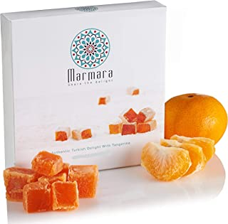 Turkish Delights with Tangerine Marmara Sweet Confectionery Gourmet Box Candy Dessert Medium 4.4 ounce