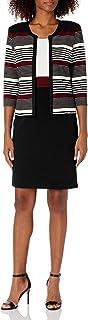 Sandra Darren womens 2 PC 3/4 Sleeve Bullet Knit Printed Stripe Jacket Dress Business Casual Dress