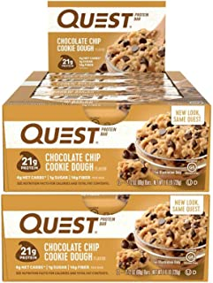 Quest Nutrition Protein Bar Choc Chip Cookie Dough. Low Carb Meal Replacement Bar with 20 Gram Protein. High Fiber, Gluten-Free (24 Count)