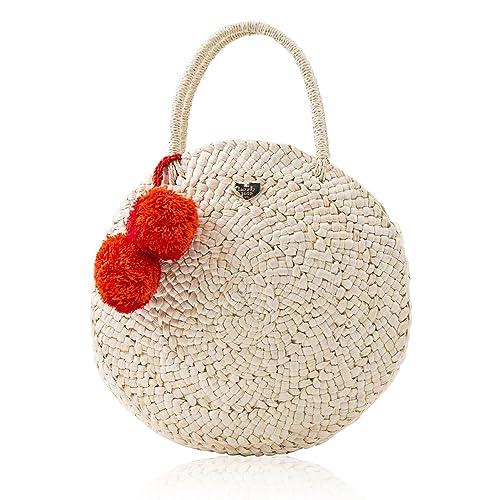 454344a7648c Women s Pom Pom Round Straw Bag