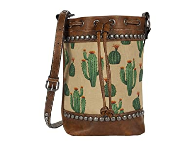 M&F Western Desert Bucket Bag (Brown/Cream/Cactus) Handbags