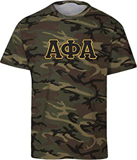 Fashion Greek Alpha Phi Alpha Embroidered Twill Camo T Shirt