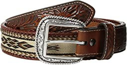 Embossed Tab Ribbon Inlay Belt