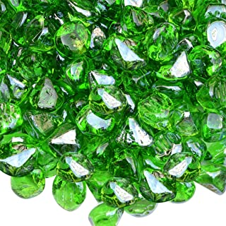 onlyfire Reflective Fire Glass Diamonds for Natural or Propane Fire Pit, Fireplace, or Gas Log Sets, 10-Pound, 1/2-Inch, Emerald Green