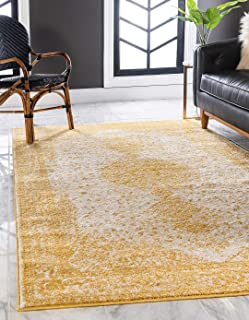 Unique Loom Bromley Collection Vintage Traditional Medallion Border Yellow Area Rug (5' 0 x 8' 0)
