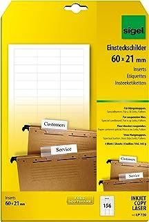 SIGEL LP720 Blankoschilder für Hängeregistratur weiß (A4,