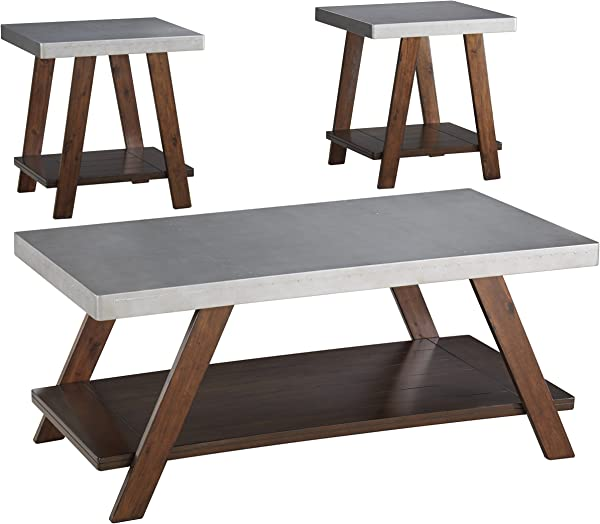 Ashley Furniture Signature Design Bellenteen Casual 3 Piece Table Set Includes Cocktail Table Two End Tables Brown Silver