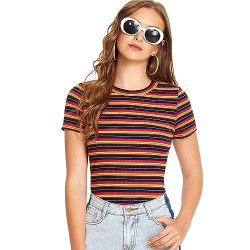 b6f80475b65 Milumia Women's Casual Multi Striped Ribbed Short Sleeve Tee Knit Top