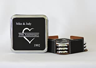 25TH Anniversary Gift, Silver Anniversary Coasters, Leather Coasters Personalized With Names