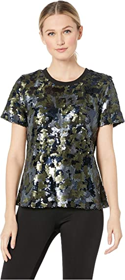 Short Sleeve Sequin Camo Tee