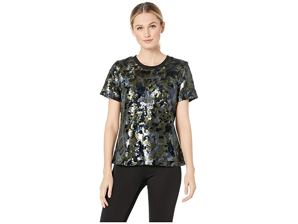 TWO by Vince Camuto Short Sleeve Sequin Camo Tee (Military Green) Women