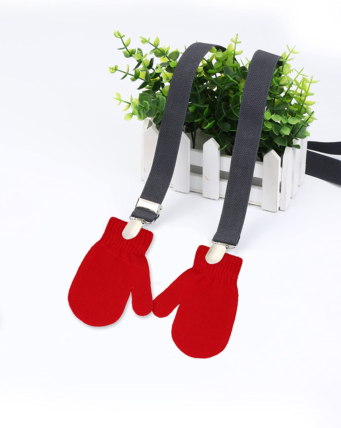 Satinior Mitten Clips Fully Adjustable (23.6-47.2 Inch) Glove Clips Elastic Gloves Clip for Kids
