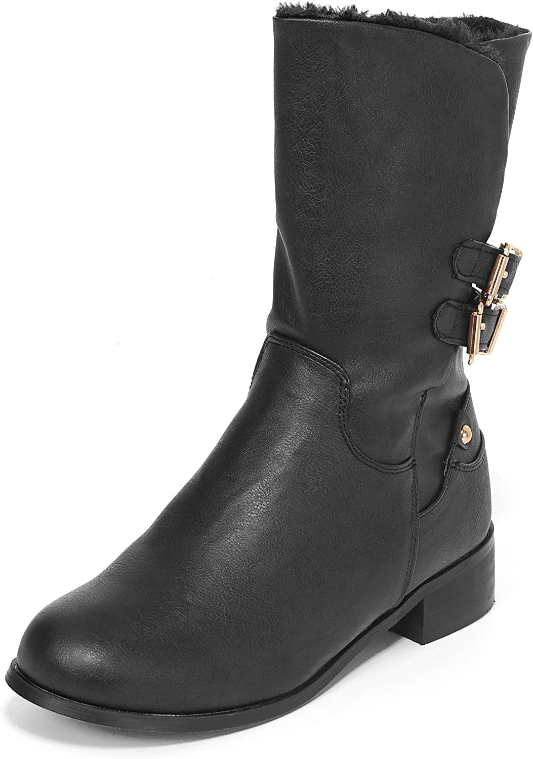 Junie's Women's Harley Faux Fur Lined Combat Motorcycle Boot