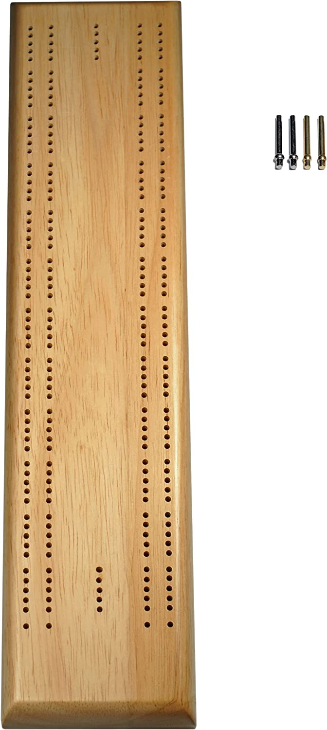 Natural Solid Wood Competition 2 track Cribbage Board with Sprint Track and Metal Pegs  16 Inch Board by WE Games