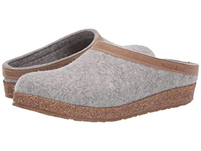 Haflinger GZL Leather Trim Grizzly (Stone) Clog Shoes