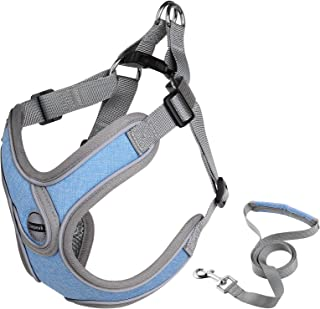 Simpeak Breathable Dog Vest Harnesses And Leash, Reflective Piping No-Pull Dog Harnesses Escape Proof Outdoor Walking Leas...