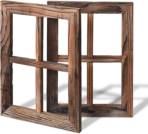 Lvydec Rustic Window Frame Wall Decor 2 Pack Farmhouse Decoration Faux Window Frame For Bathroom Living Room Office 15 5 X 11 5