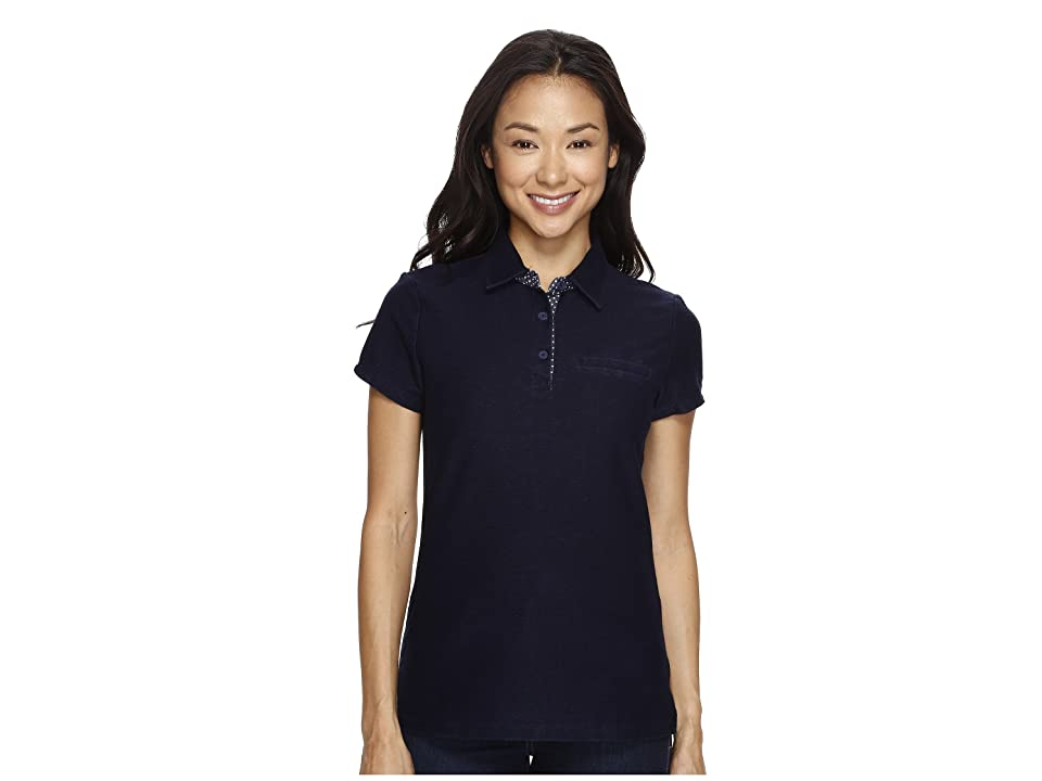 U.S. POLO ASSN. Knit Twill Piping Trim Polo Shirt (Washed Indigo) Women