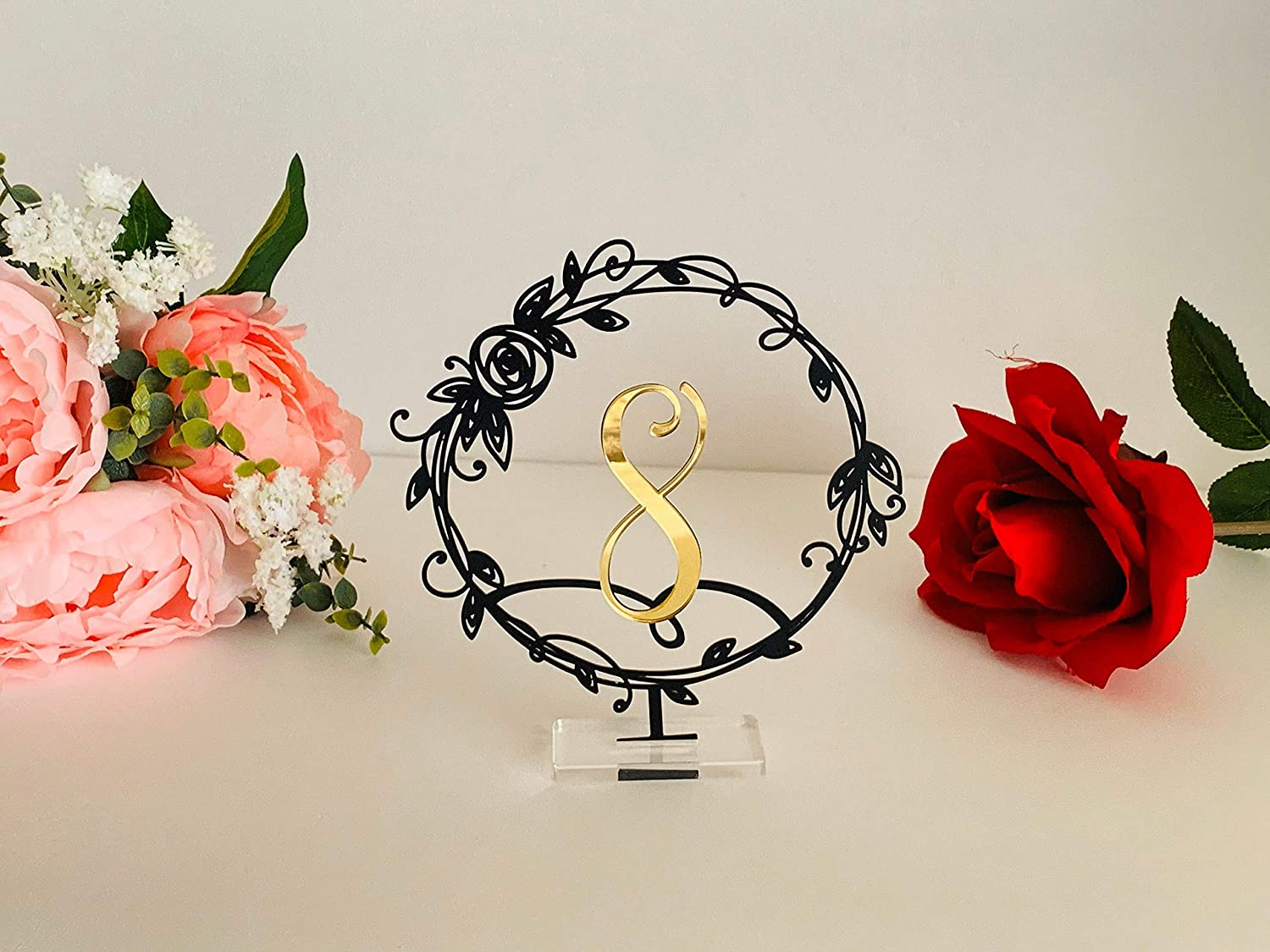 Wedding Table Numbers Laser Mail order Cut Detroit Mall Modern Metal Freesta Signs