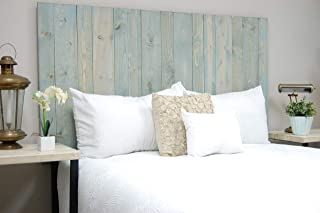 Winter Sky Headboard King Size Bluish Stain, Hanger Style, Handcrafted. Mounts on Wall. Easy Installation