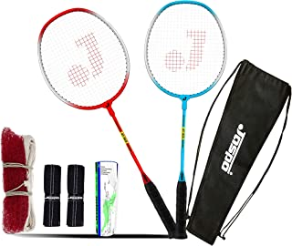 Jaspo GT 303 Pro Red/Blue Badminton Set(2 Badminton Racket and 5 Feather Shuttle Cork,1 Carry Bag,1 Grip,1 Badminton net)