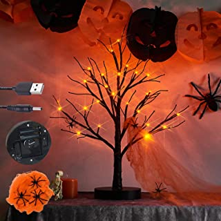 LITBLOOM Lighted Spooky Halloween Tree with Timer Battery Operated or USB Plug in, Pre-lit Black Glittered Tabletop Tree w...