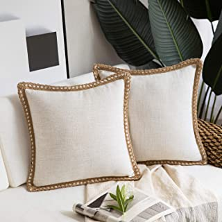 Phantoscope Pack of 2 Farmhouse Decorative Throw Pillow Covers Burlap Linen Trimmed Tailored Edges Off White 18 x 18 inche...