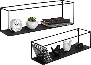 MyGift Black Metal Framed Wall-Mounted Rectangular Display Shelves, Set of 2