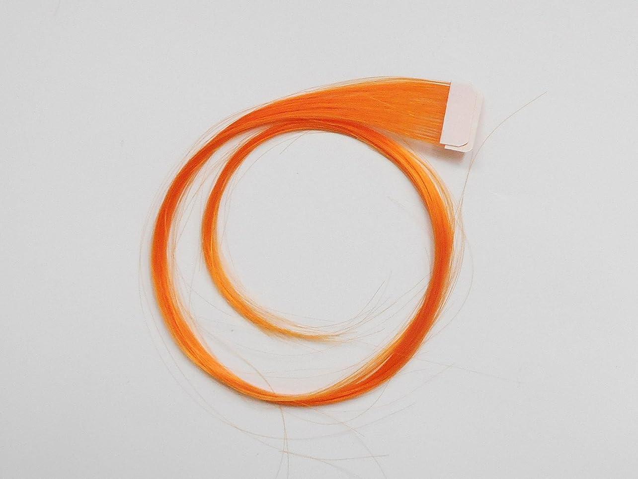 フェザー幸福着る簡単エクステ テープエクステンション シールエクステンション 2枚入 10色カラー (オレンジ)