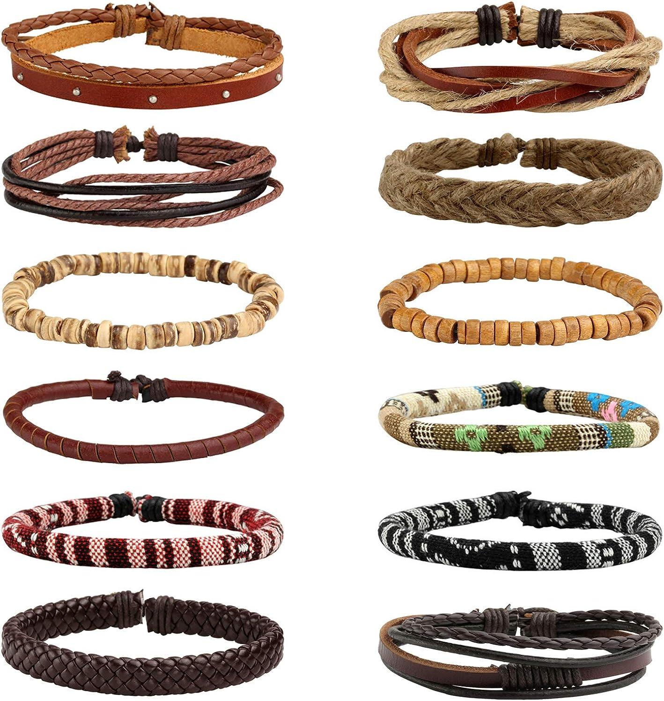 Milakoo 12pcs Men Women Linen Max 69% OFF Hemp Triba Direct sale of manufacturer Wood Ethnic Beads Cords