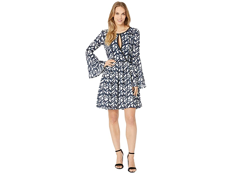 Rock and Roll Cowgirl Bell Sleeve Dress D4-7252 (Navy) Women