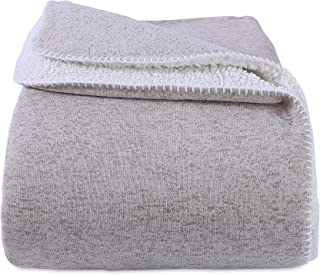 Berkshire Blanket Soft Sweater Knit Reversible Bed Blanket, Full/Queen, Feather