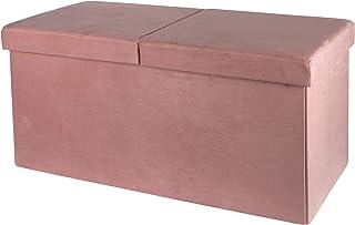 Baroni Home Coffre pliable, coffre de rangement, repose-pieds en velours rose poudré 76 x 38 x 38 cm