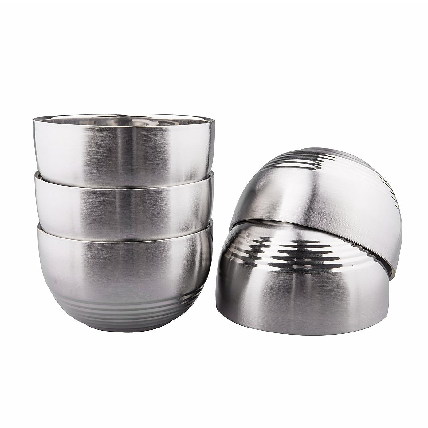 いつか運賃コーナーIMEEA 茶碗 めし碗 つや消し SUS304 ステンレス 断熱 二重構造 ボウル こども用ボウル 5個セット