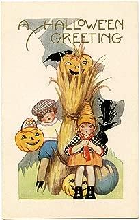 Two Cute Children with Their Jack O'Lanterns Vintage Halloween Pumpkin Metal Tin Sign 8X12 Inch