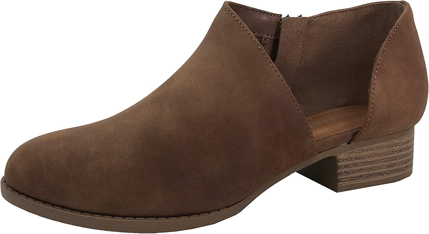 CITYCLASSIFIED Womens Ankle Bootie D'Orsay Cut Out Perforated Open Side Closed Toe, Chestnut, 8.5 Cognac