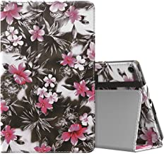 MoKo Case for All-New Amazon Fire HD 10 Tablet (7th Generation and 9th Generation, 2017 and 2019 Release) - Slim Folding Stand Cover with Auto Wake/Sleep for 10.1 Inch Tablet, Black & Pink Flower