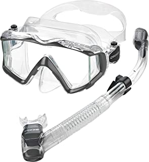 Cressi Panoramic Wide View Mask & Dry Snorkel Kit for Snorkeling, Scuba Diving   Pano 3 & Supernova Dry: designed in Italy