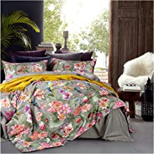 Eikei Vintage Botanical Flower Print Bedding 400tc Cotton Sateen Romantic Floral Scarf Duvet Cover 3pc Set Colorful Antique Drawing of Summer Lilies Daisy Blossoms King Grey 43237-2