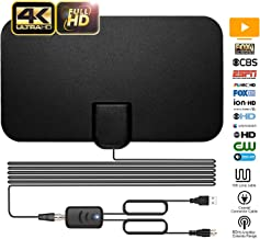TV Antenna, ARVEIMI Indoor TV Antenna, Over 60+Miles Long Range Access Digital TV Antenna- Support 4K 1080P HD/VHF/UHF Freeview Channels for All Types of Built-in Tuner Home Smart Television