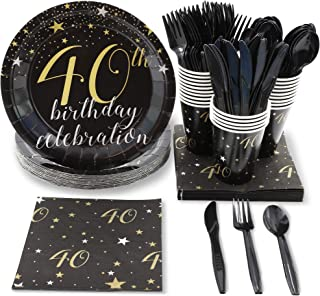 Blue Panda Black and Gold 40th Birthday Celebration Party Supplies - Plates, Knives, Spoons, Forks, Napkins, and Cups, Serves 24