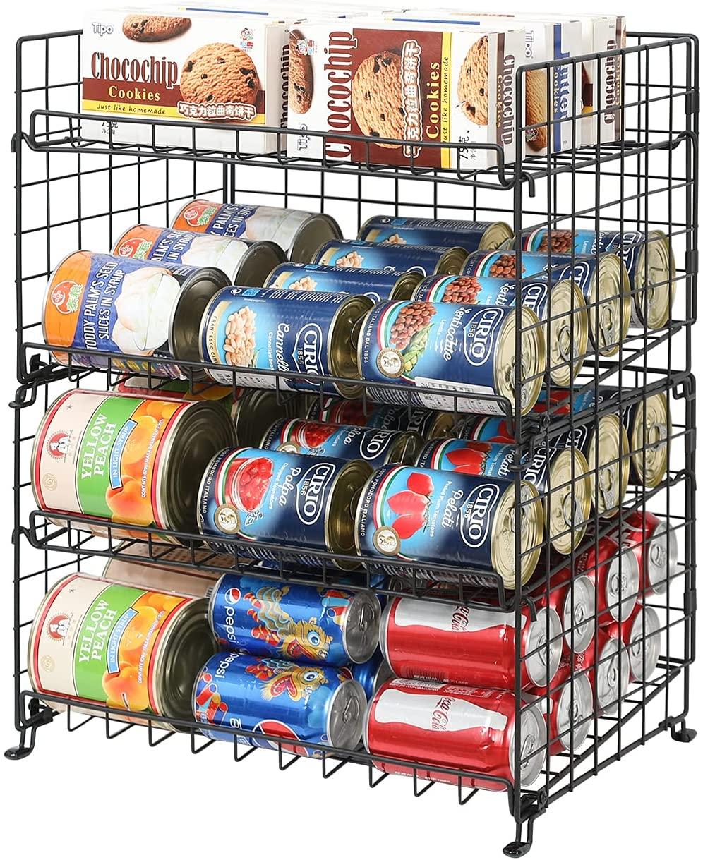 Stackable Can Rack Organizer, 4-Tier Can Storage Rack for Kitchen Cabinet Pantry, Multifunctional Can Dispenser for Storing Canned Snacks Drinks and More,Black