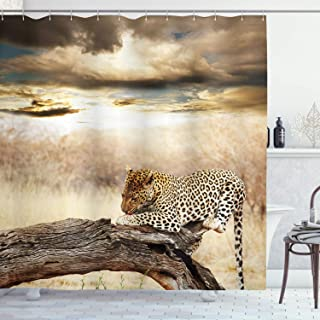 Ambesonne Safari Shower Curtain, Leopard Resting Dramatic Cloudy Sky Safari Wild Cats Nature Picture, Cloth Fabric Bathroom Decor Set with Hooks, 75