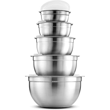 Premium Stainless-Steel Mixing Bowls with Airtight Lids (Set of 5) Nesting Bowls for Space-Saving Storage, Easy-Grip & Stability Design Mixing-Bowl Set Versatile For Cooking, Baking, & Food Storage